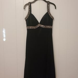 JS Boutique | Black Beaded Velour Dress